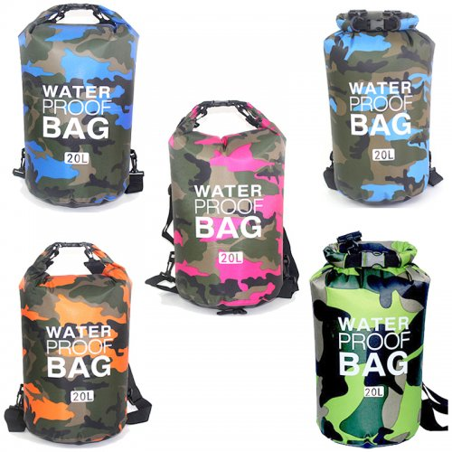 20L Camouflage Waterproof Bag Compression Sack Storage Dry Pouch for Boating Drifting Beach - Orange