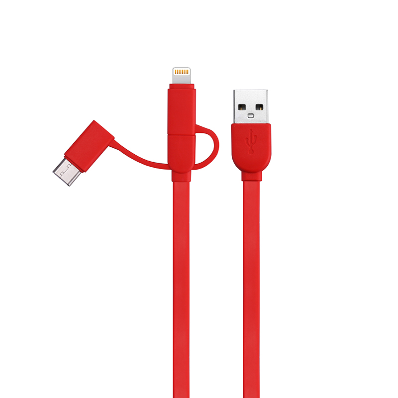 1M 3in1 Multi-function Charge Cable Lightning Type-c Micro USB Charging Data Line - Red
