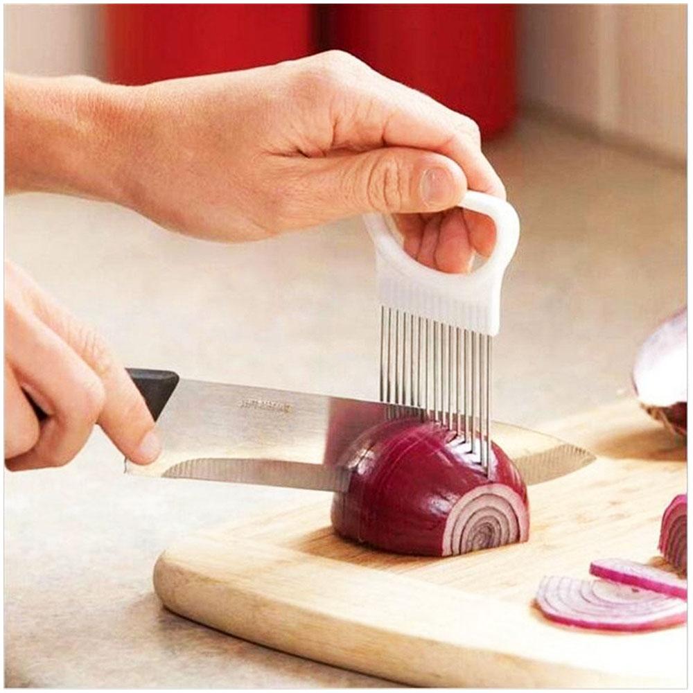 All-In-One Stainless Steel Onion Potato Cutter Holder Slicer Kitchen Tool - Orange