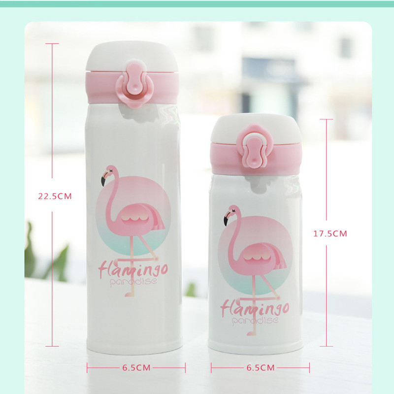350ml Cartoon Thermos Cup Stainless Steel Water Bottle Vacuum Flask Cup - Flamingo