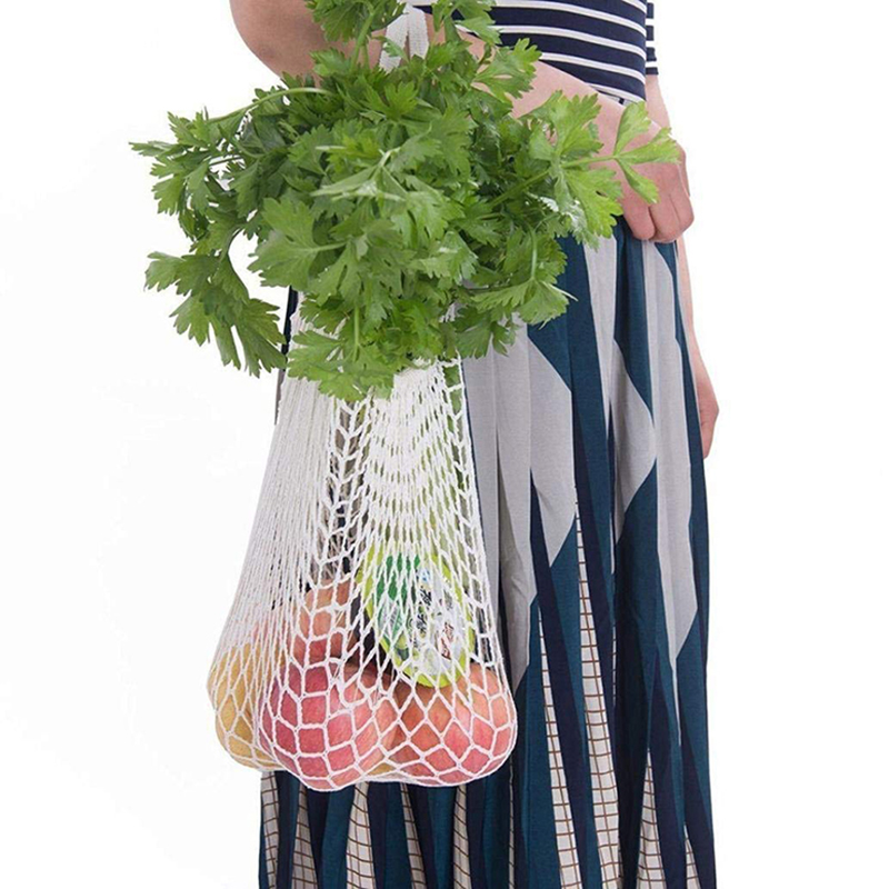 Reusable Mesh Net Turtle Bag Braided Shopping Fruit Storage Handbag Totes - White