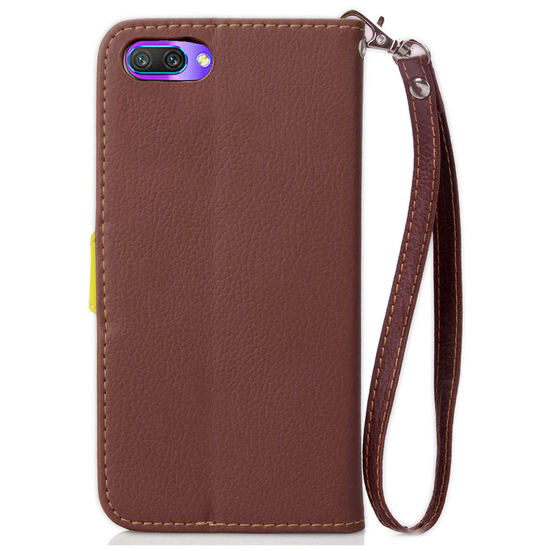 Litchi Leaf Wallet PU Leather Flip Stand Case Cover for Huawei Honor 10 - Brown