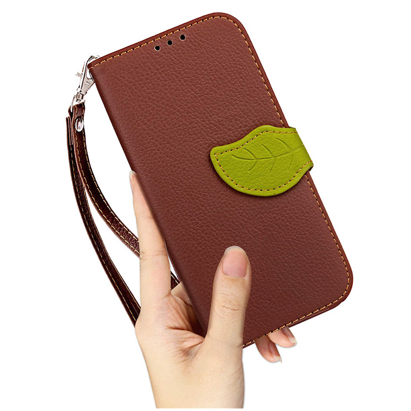 Leaf Magnetic Litchi Texture Horizontal Flip PU Leather Wallet Case Cover for Huawei Honor 9I - Brown