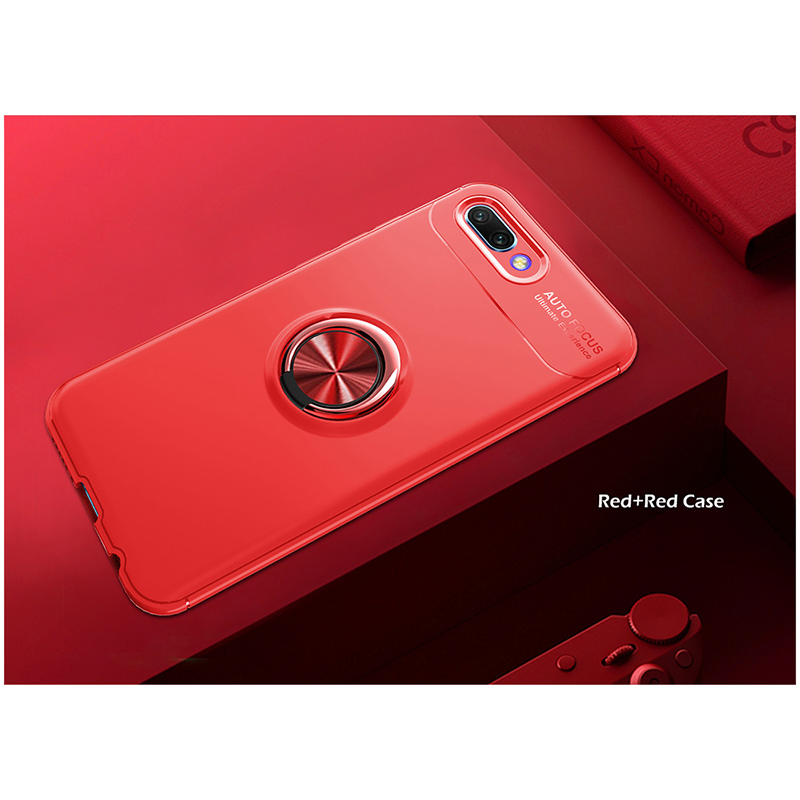 Metal Magnetic Ring Rotation Stand Soft TPU Shockproof Case Back Cover for Huawei Honor 10 - Red