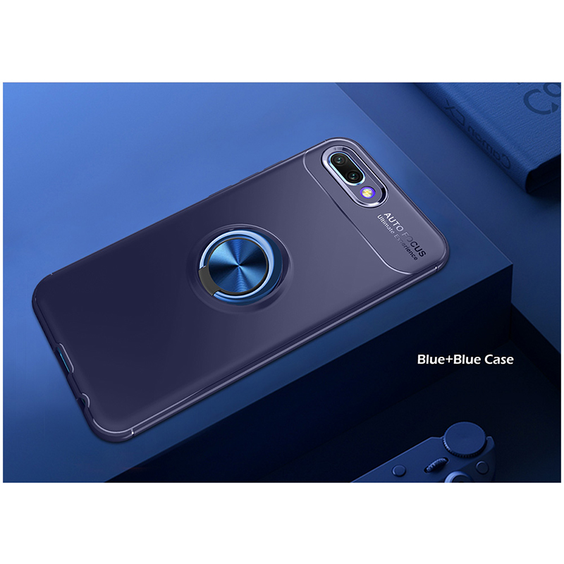 Metal Magnetic Ring Rotation Stand Soft TPU Shockproof Case Back Cover for Huawei Honor 10 - Blue