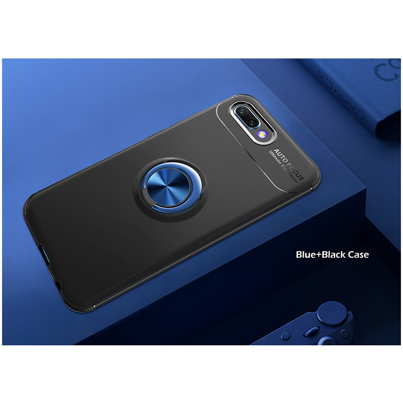 Metal Magnetic Ring Rotation Stand Soft TPU Shockproof Case Back Cover for Huawei Honor 10 - Black+Blue