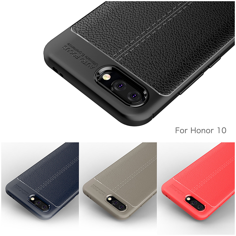 Anti-slip Litchi Grain Texture Soft TPU Rubber Shockproof Case Back Cover for Huawei Honor 10 - Grey