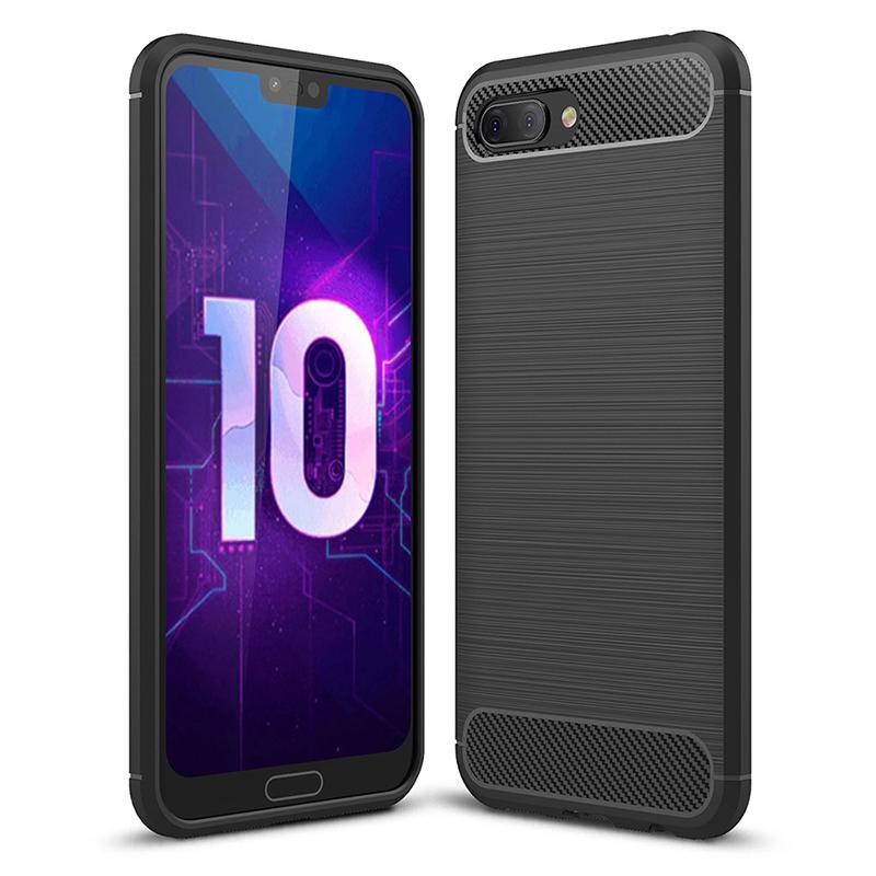 Shockproof TPU Carbon Fiber Tough Brushed Case Back Cover for Huawei Honor 10 - Black