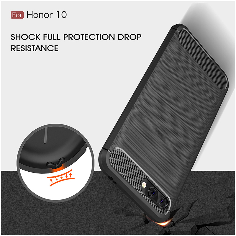 Shockproof TPU Carbon Fiber Tough Brushed Case Back Cover for Huawei Honor 10 - Black