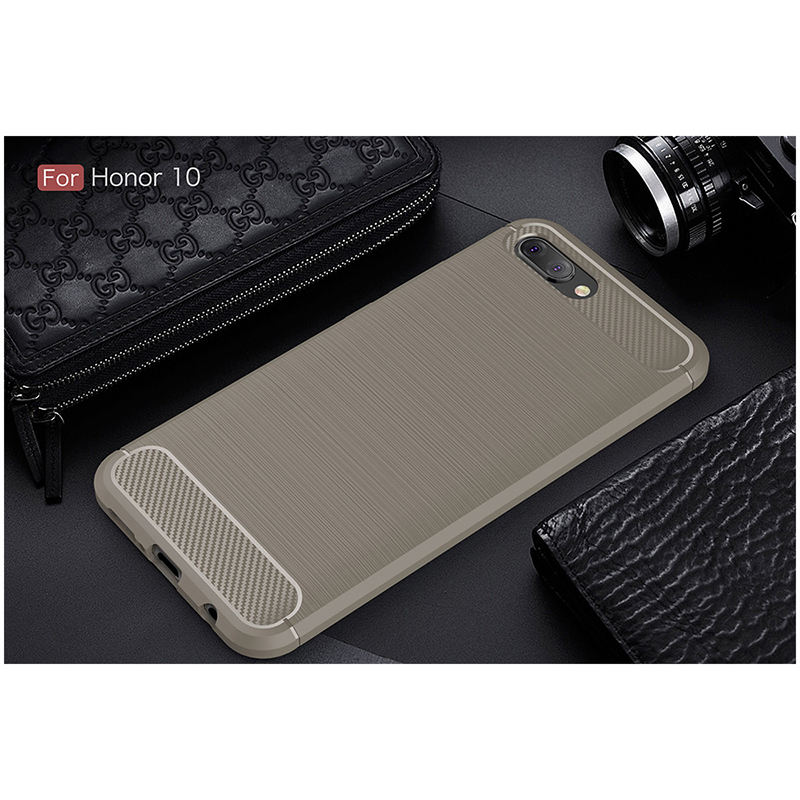 Shockproof TPU Carbon Fiber Tough Brushed Case Back Cover for Huawei Honor 10 - Grey