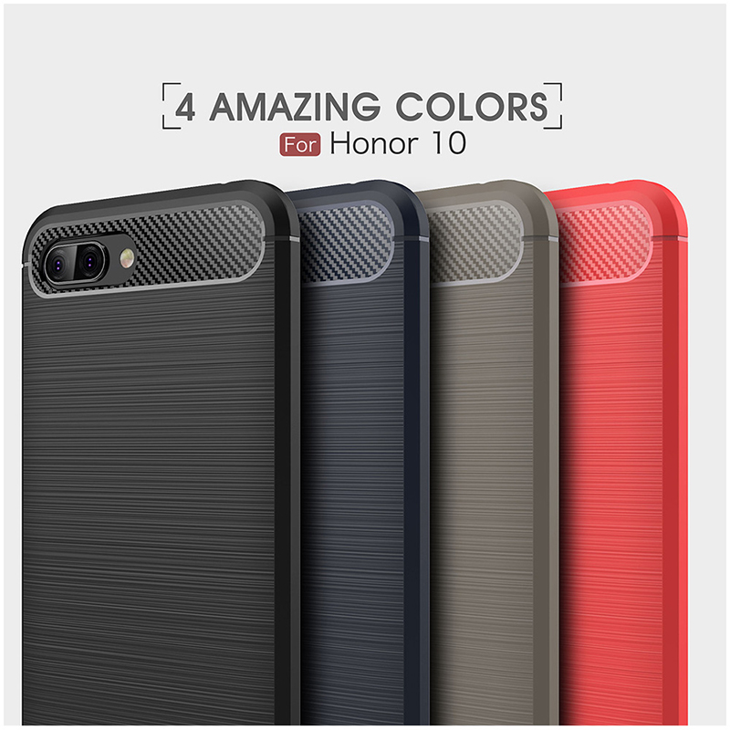 Shockproof TPU Carbon Fiber Tough Brushed Case Back Cover for Huawei Honor 10 - Navy Blue