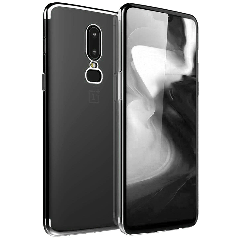 Soft Silicone Protective Case TPU Back Phone Case for OnePlus 6 - Silver
