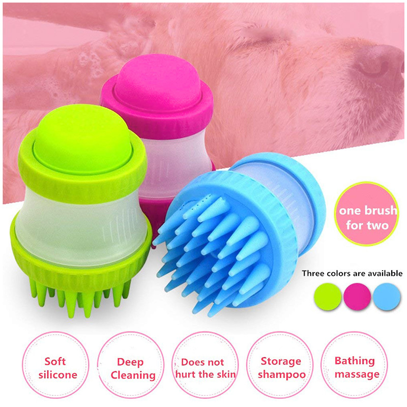 Multi-function PP+Silicone Pet Bath Massage Brush Pets Dog Bathing Cup Shower Tool - Blue