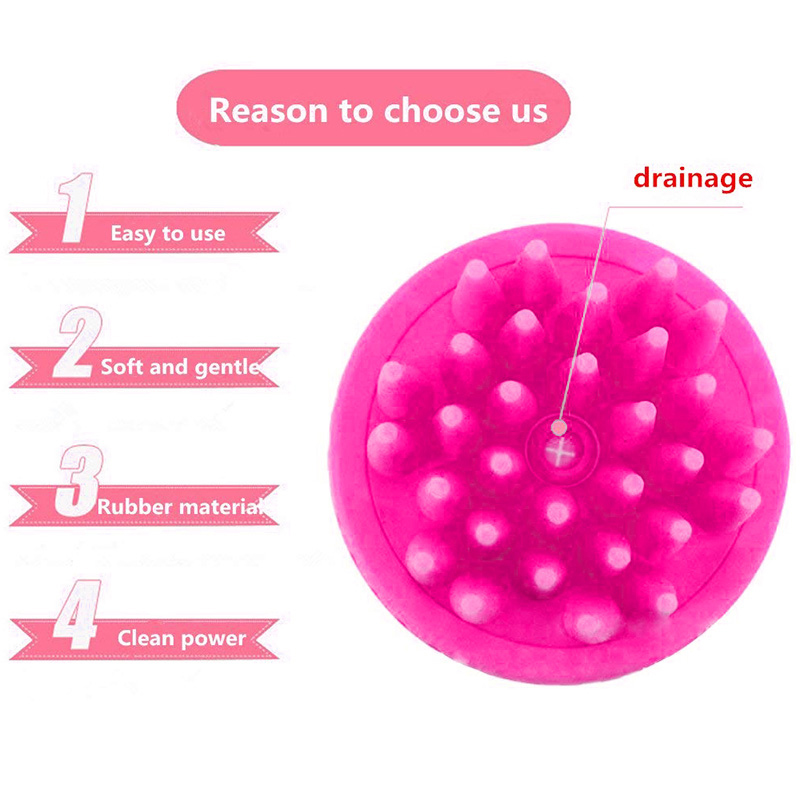 Multi-function PP+Silicone Pet Bath Massage Brush Pets Dog Bathing Cup Shower Tool - Pink