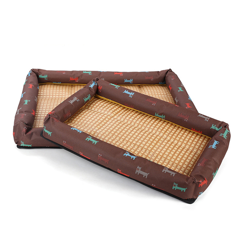 Summer Cool Pet Bed Breathable Printing Cat Dog Nest Mat Size S - Brown