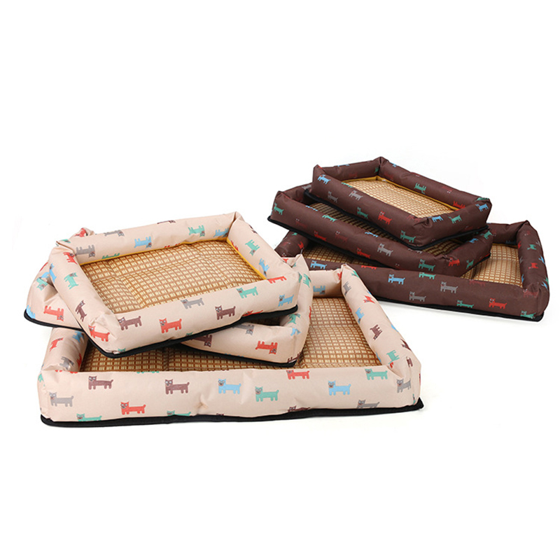Summer Cool Pet Bed Breathable Printing Cat Dog Nest Mat Size L - Brown