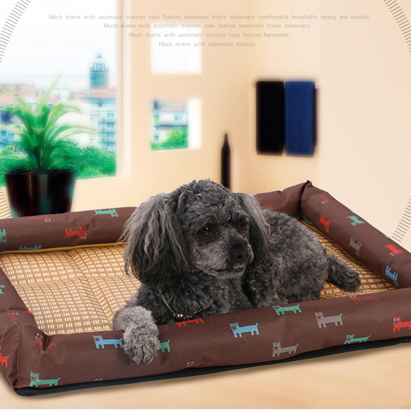 Summer Cool Pet Bed Breathable Printing Cat Dog Nest Mat Size XL - Brown