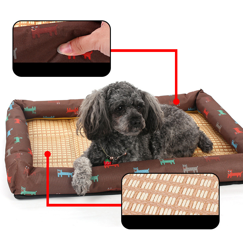 Summer Cool Pet Bed Breathable Printing Cat Dog Nest Mat Size XXL - Brown
