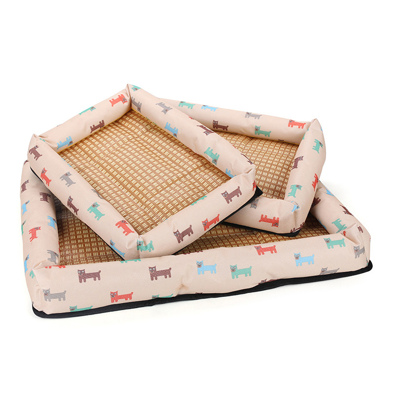 Summer Pet Bed Dog Cat Nesting House Breathable Waterproof Puppy Bed Size M - Beige