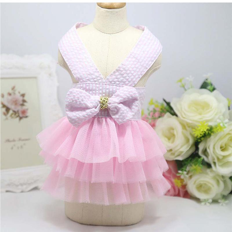 Small Pet Dog Dress Tutu Skirt Cat Puppy Cute Princess Clothing Size XS - Pink