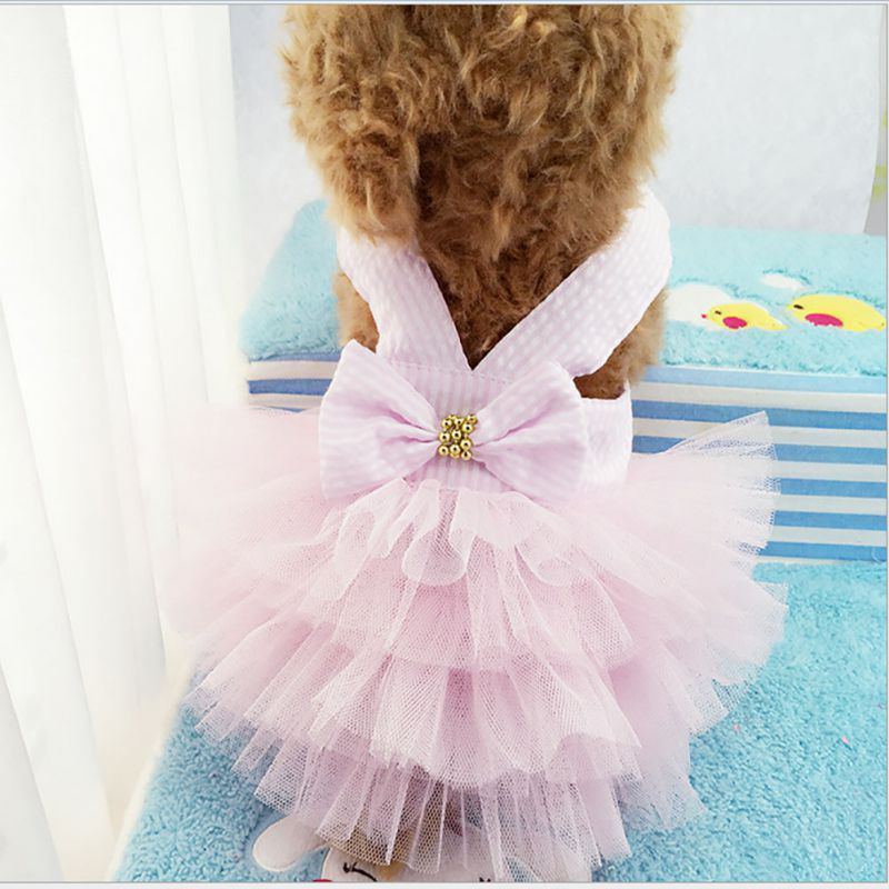 Small Pet Dog Dress Tutu Skirt Cat Puppy Cute Princess Clothing Size L - Pink