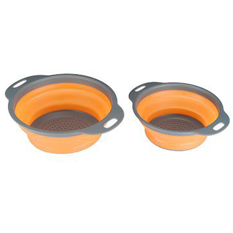 Small Size Folding Vegetables Fruits Drain Basket Kitchen Storage Organizer - Orange