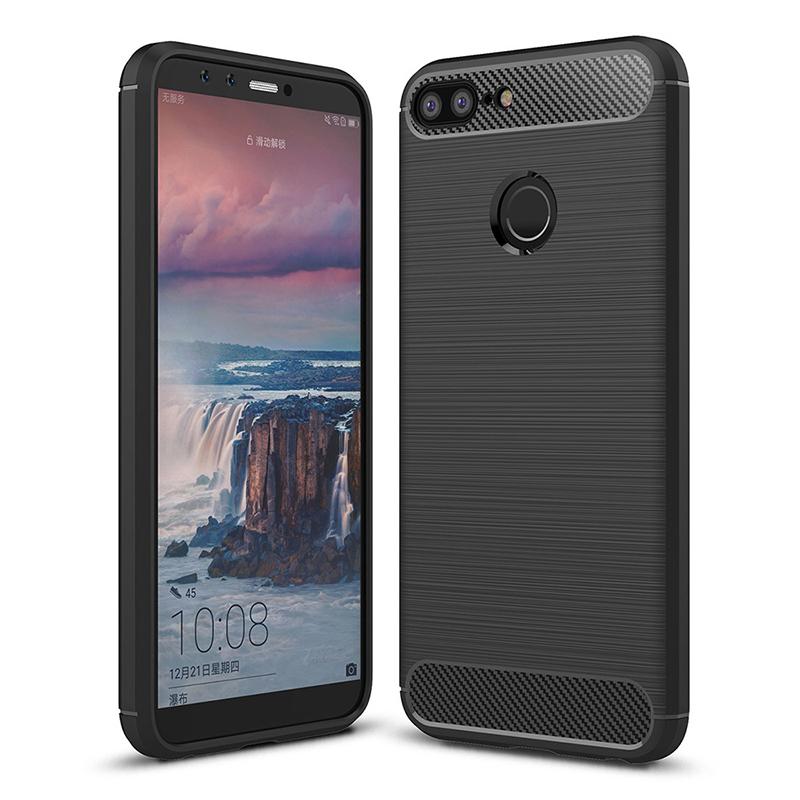 Slim Brushed Carbon Fiber TPU Rubber Shockproof Case Back Cover Shell for Huawei Honor 9 Lite - Black