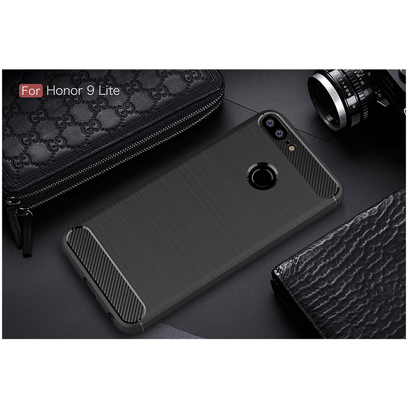 Slim Brushed Carbon Fiber TPU Rubber Shockproof Case Back Cover Shell for Huawei Honor 9 Lite - Black