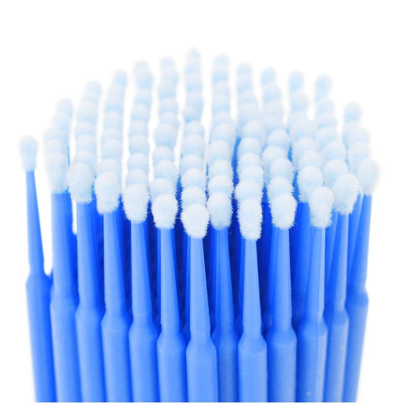 100Pcs/Lot Durable Micro Disposable Eyelash Extension Mascara Brush Eyelashes Glue Cleaning Stick Size L - Blue