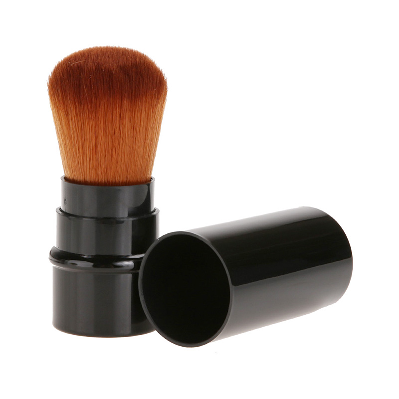 Mini Portable Retractable Makeup Brush Face Powder Contour Foundation Blusher Beauty Tool - Black