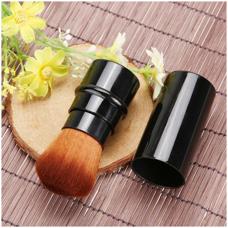 Mini Portable Retractable Makeup Brush Face Powder Contour Foundation Blusher Beauty Tool - Black
