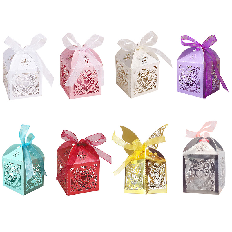 Love Heart Laser Cut Candy Gift Boxes with Free Organza Ribbon for Wedding Party - White