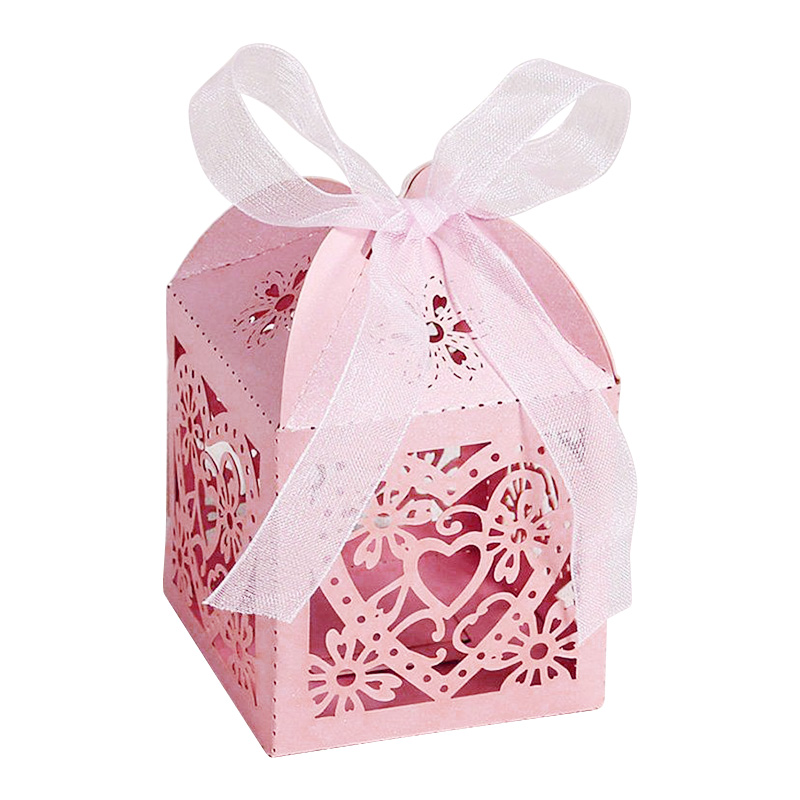 Love Heart Laser Cut Candy Gift Boxes with Free Organza Ribbon for Wedding Party - Pink