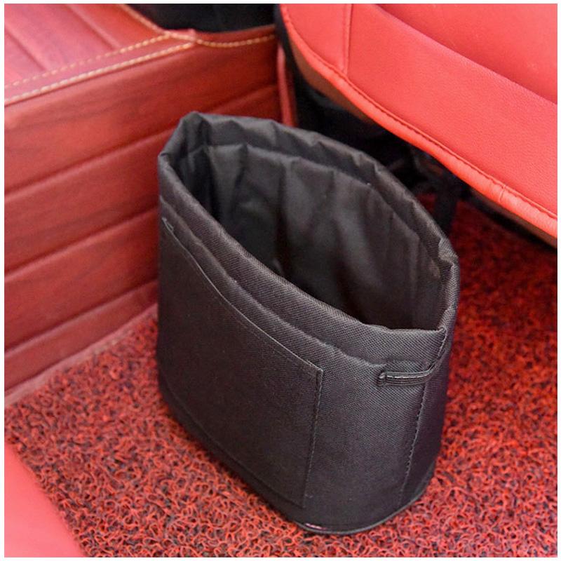 Car Oxford Trash Can Litter Bag Collapsible Car Garbage Holder Storage Bucket for Traveling - Black