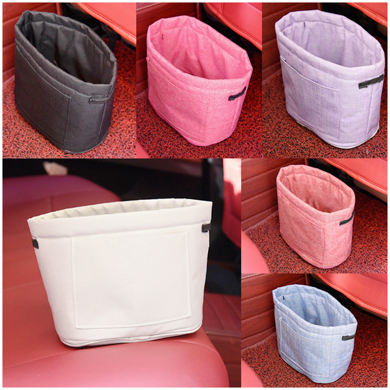 Car Oxford Trash Can Litter Bag Collapsible Car Garbage Holder Storage Bucket for Traveling - Red