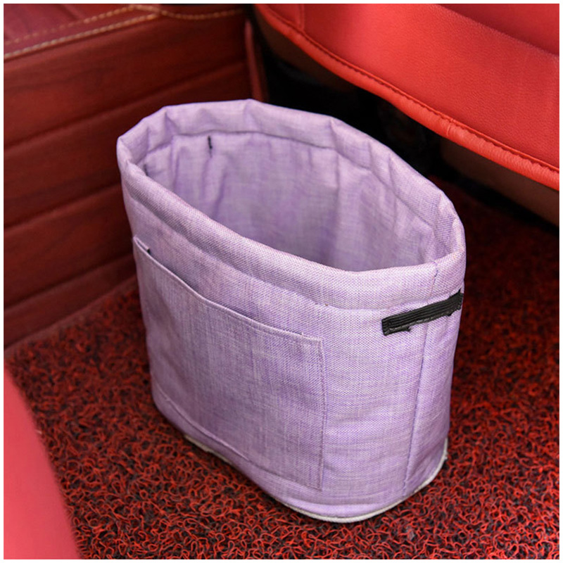 Car Oxford Trash Can Litter Bag Collapsible Car Garbage Holder Storage Bucket for Traveling - Purple