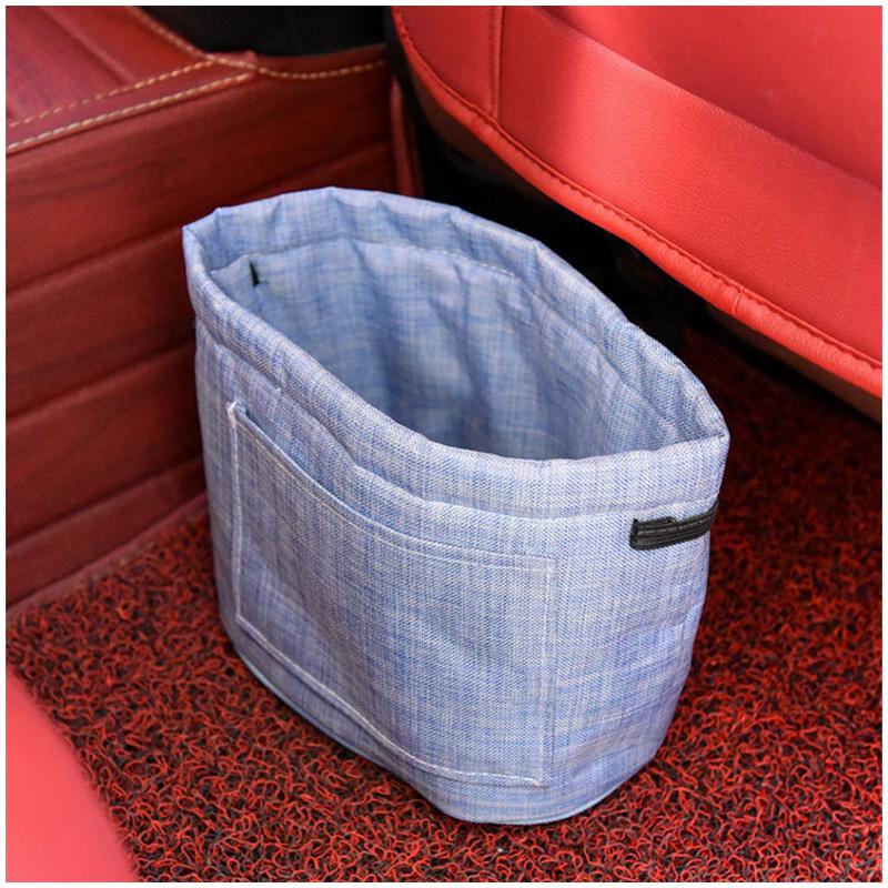 Car Oxford Trash Can Litter Bag Collapsible Car Garbage Holder Storage Bucket for Traveling - Blue