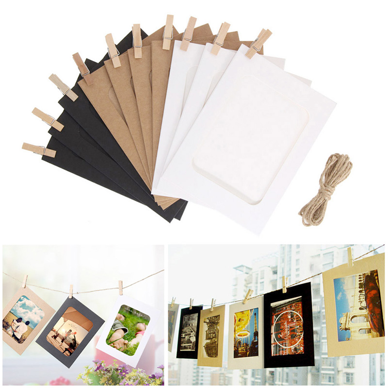 10Pcs Kraft Paper Wall Photo Frame 3 Colors DIY Hanging Picture Album Home Decoration with Clips Rope - 3 Inch