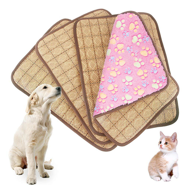 Size L 2in1 Dual Use Pet Dog Cat Cooling Sleeping Mat Cushion Cold Bed Pad - Pink