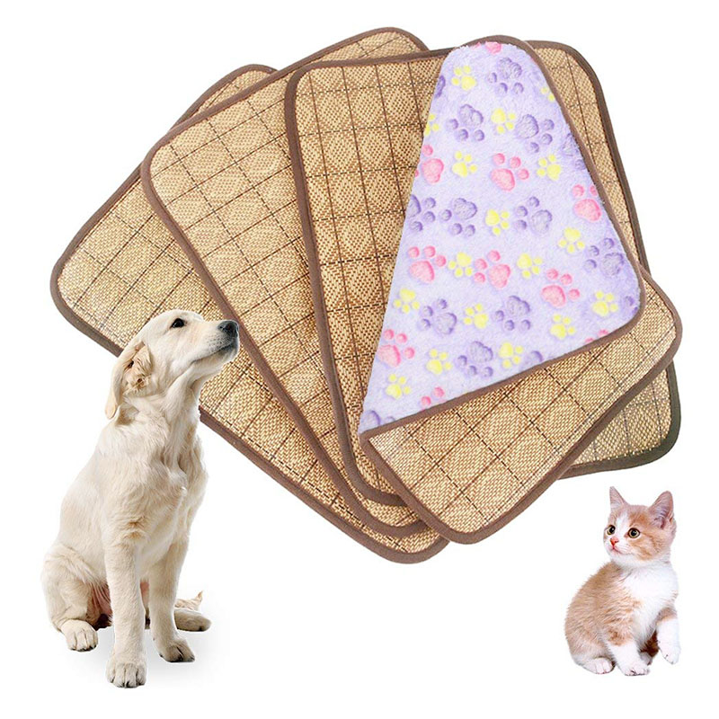 Size XL Dual Use Pet Mat Dogs Cats Heat Winter Cooling Summer Sleeping Bed Cushion Pad - Purple