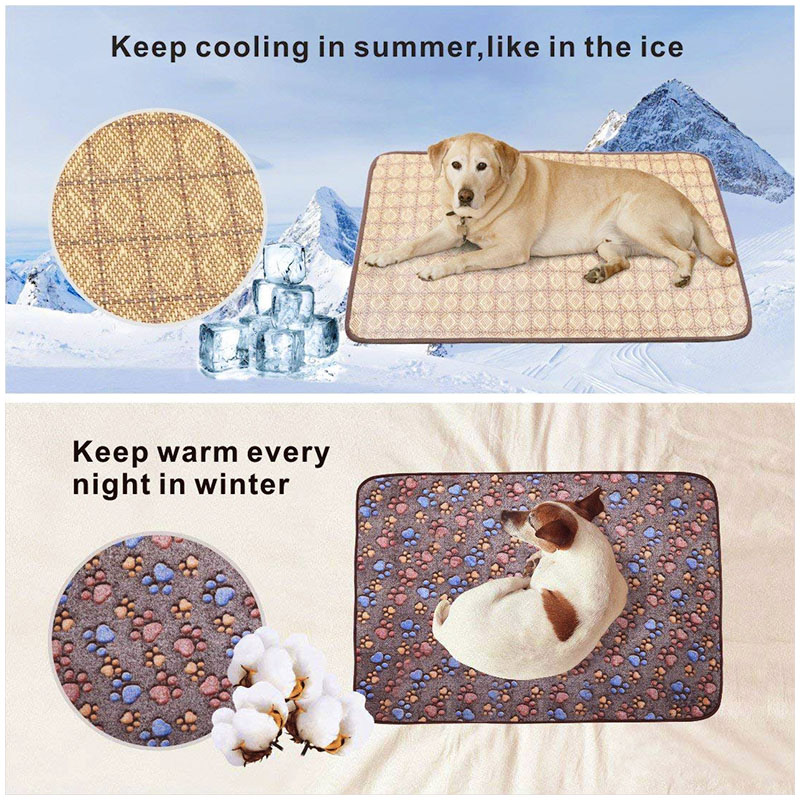 Size XL Dual Use Pet Mat Dogs Cats Heat Winter Cooling Summer Sleeping Bed Cushion Pad - Dark Brown