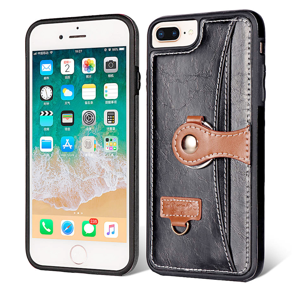 Shockproof TPU Bump PU Leather Wallet Stand Case Back Cover for iPhone 7/8 Plus - Black