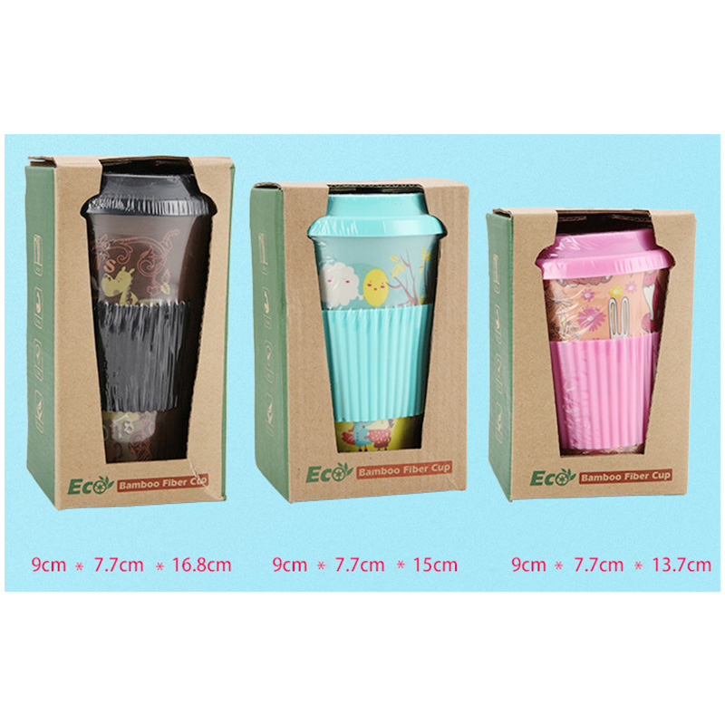 350ML Reusable Bamboo Fiber Coffee Cup Portable Heat Resistance Coffee Mugs with Silicone Lid - Pink