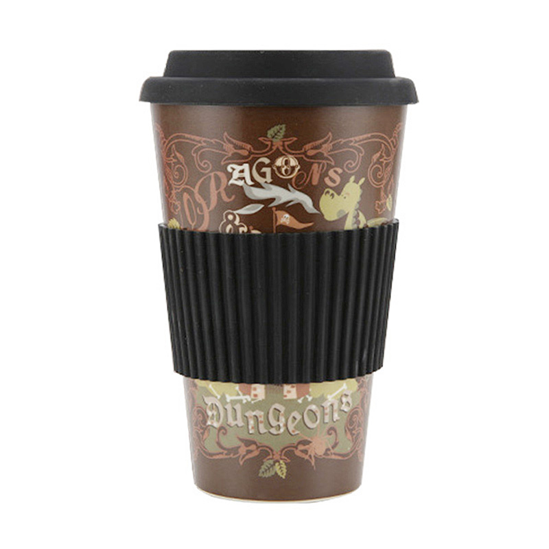 420ML Portable Takeaway Bamboo Fiber Coffee Cup Travel Mug with Silicone Lid - Brown