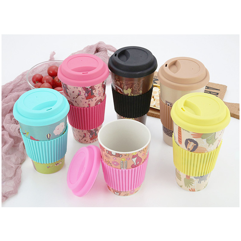 420ML Portable Takeaway Bamboo Fiber Coffee Cup Travel Mug with Silicone Lid - Khaki