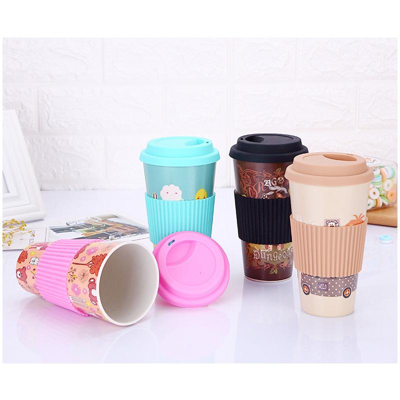480ML Reusable Bamboo Fiber Coffee Tea Mug Travel Cup with Silicone Lid and Sleeve - Pink
