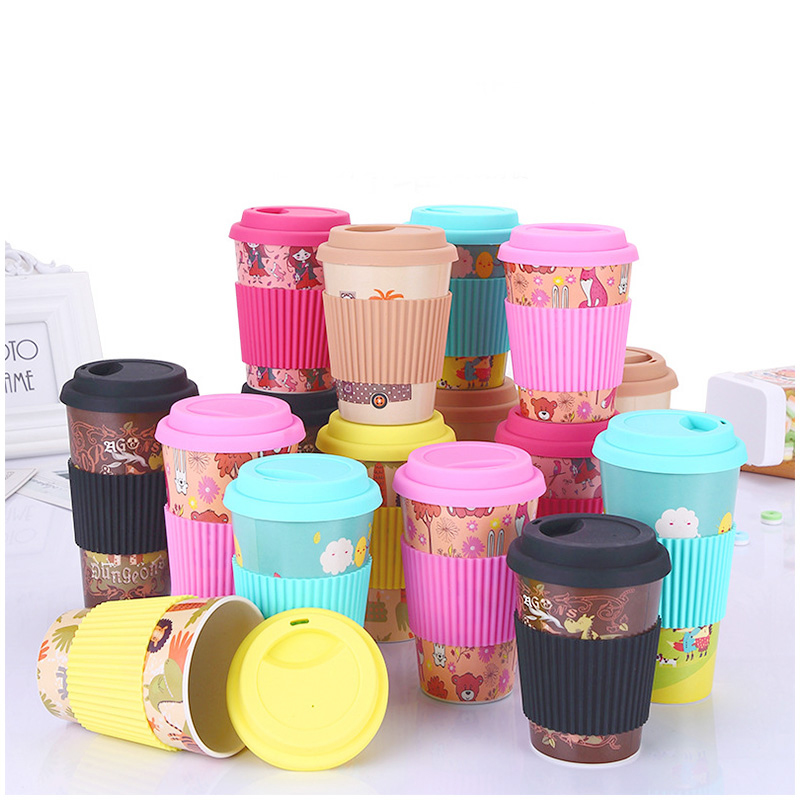 480ML Reusable Bamboo Fiber Coffee Tea Mug Travel Cup with Silicone Lid and Sleeve - Rose Red