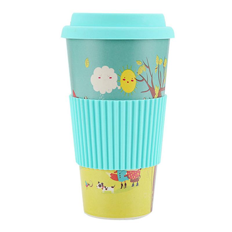480ML Reusable Bamboo Fiber Coffee Tea Mug Travel Cup with Silicone Lid and Sleeve - Blue