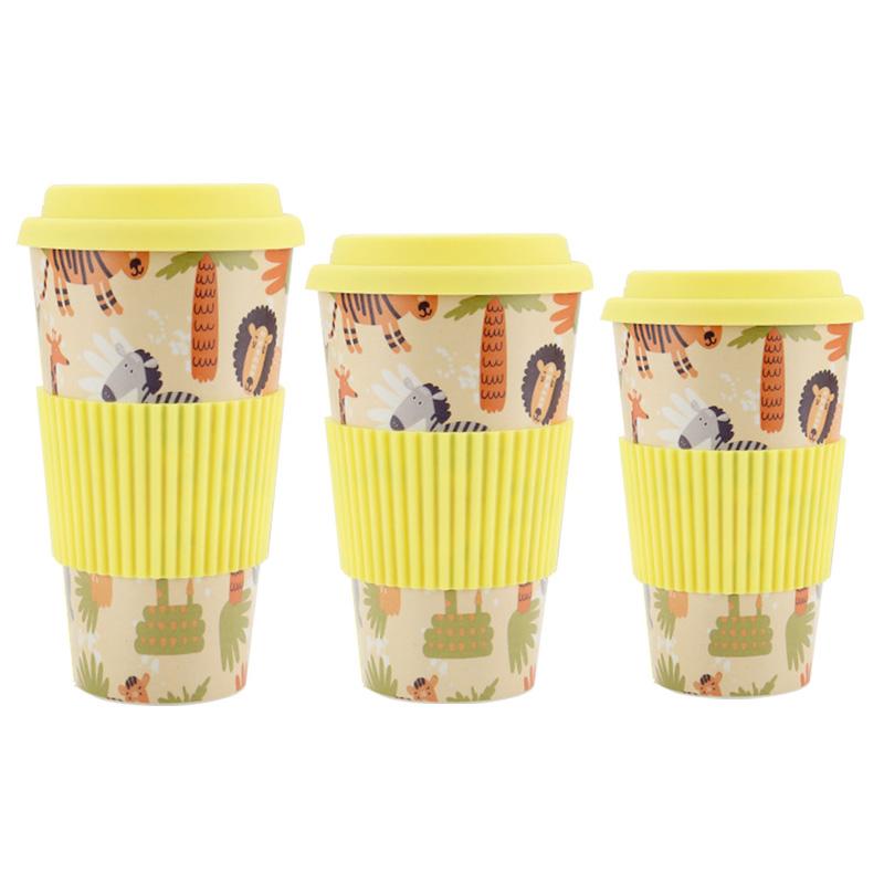 480ML Reusable Bamboo Fiber Coffee Tea Mug Travel Cup with Silicone Lid and Sleeve - Yellow