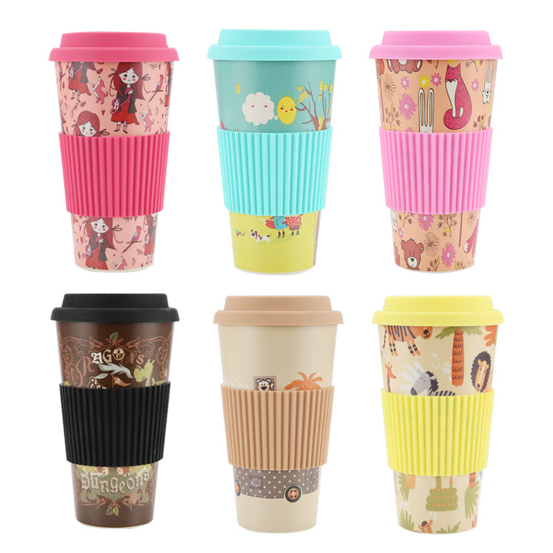 480ML Reusable Bamboo Fiber Coffee Tea Mug Travel Cup with Silicone Lid and Sleeve - Brown